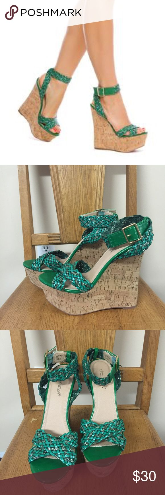 Shoe Dazzle Etty Green Wedge Shoes Sandals Brand new without tags/box green colored wedges from Shoedazzle in the Etty style. The cover photo is a stock photo and the the second and third photos are the actual shoes. Please ask if you have any questions, need any measurements or more pictures. No trades. Shoe Dazzle Shoes Wedges