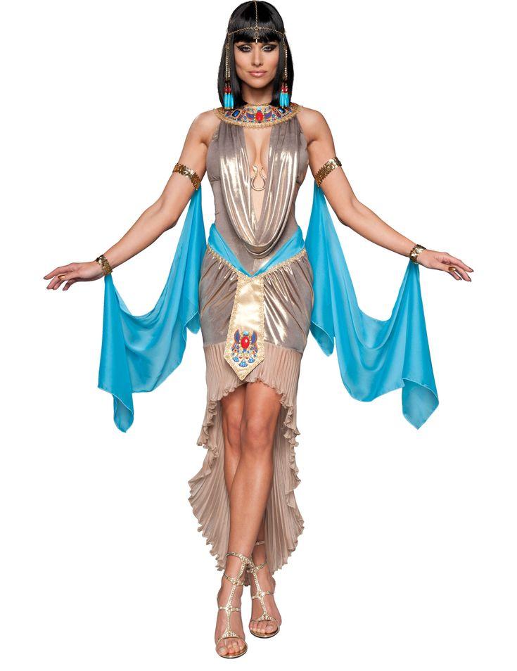 Disfraz Reina de Egipto mujer Premium: Este disfraz para adulto incluye vestido, mangas y cofia (zapatos no incluidos).El vestido tiene un corte asimétrico y es más largo en la parte trasera. Es dorado satinado con detalles...