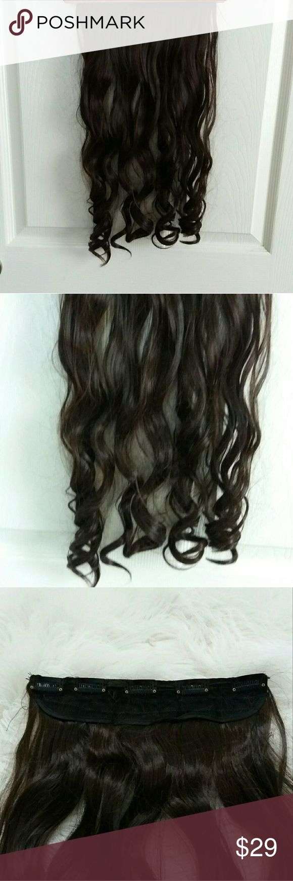 """Synthetic Hair Clip Extensions NEW...... NEVER USED, Long, curly, wavy synthetic hair extensions, dark brown, 20"""" Accessories Hair Accessories"""