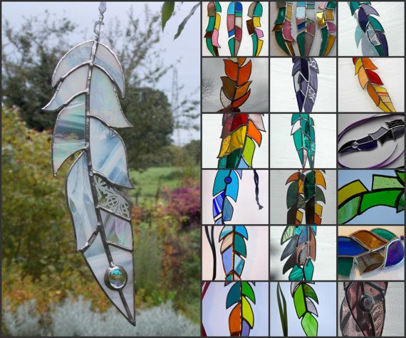 Gekleurd glas Feather Suncatcher zon Catcher van WylloWytch op Etsy