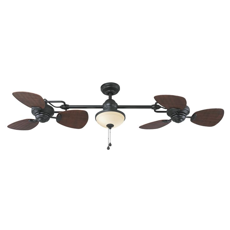 Shop Harbor Breeze Twin Breeze II 74-in Oil Rubbed Bronze Outdoor Downrod Mount Ceiling Fan with Light Kit at Lowes.com Lowe's $179