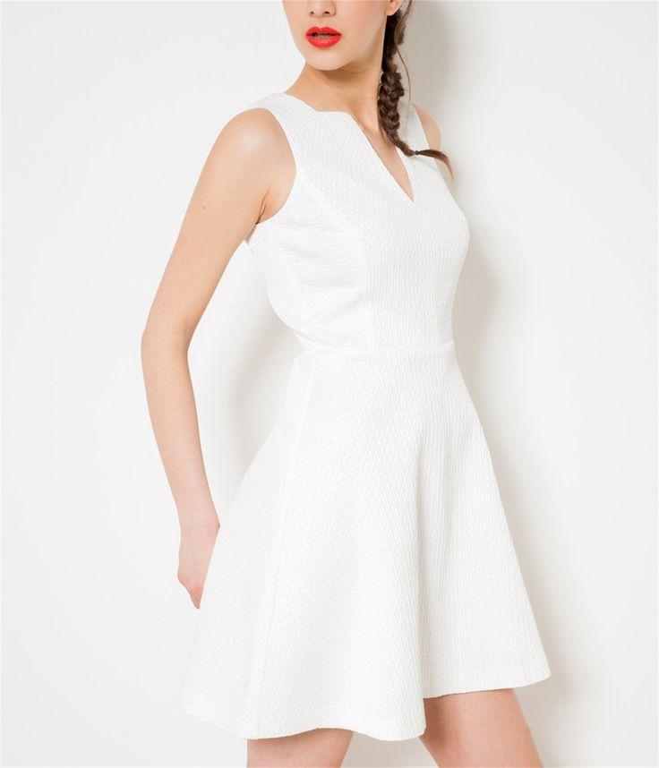 #CAMAIEU – Robe blanche corolle