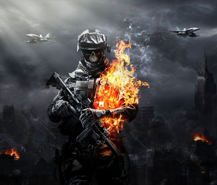 cool battlefield 4 fire armor in black background game