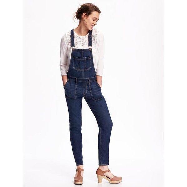 Old Navy Womens Skinny Denim Overalls ($40) ❤ liked on Polyvore featuring jumpsuits, meg, denim bib overalls, skinny leg jeans, skinny denim overalls, white jumpsuit and skinny jeans overalls