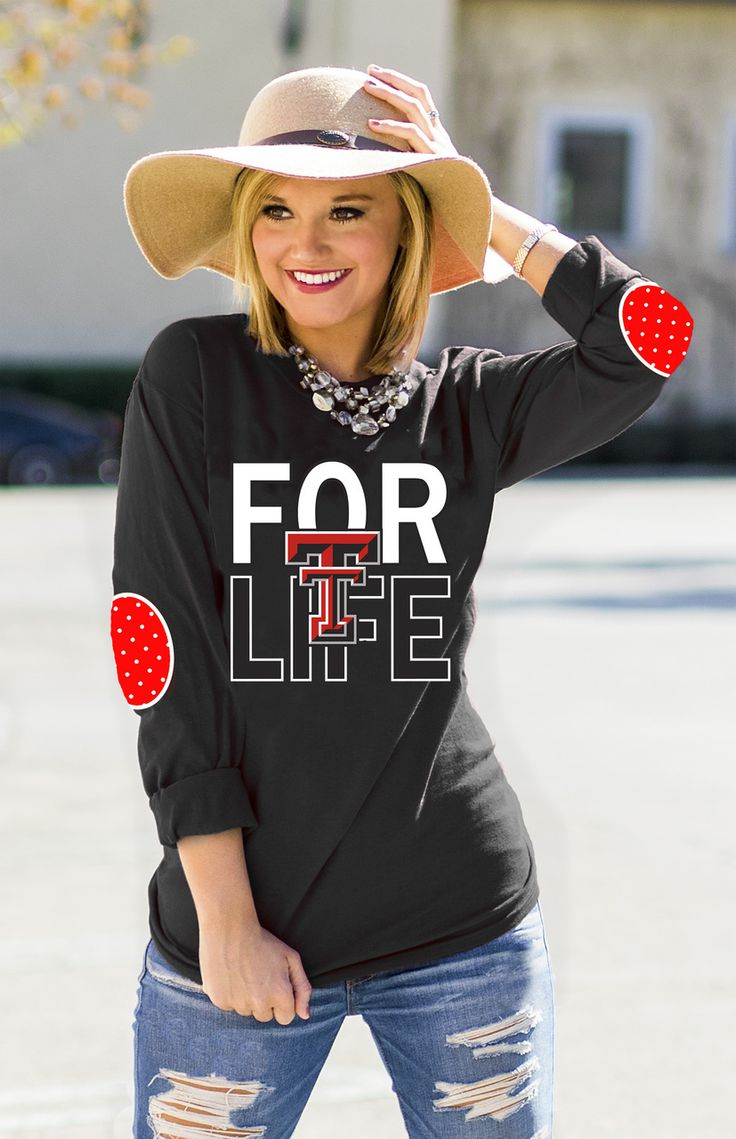 TEXAS TECH 'FAN FOR LIFE' ELBOW PATCH TEE BLACK