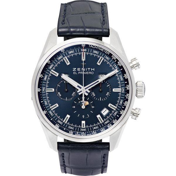 Zenith El Primero 410 Stainless Steel and Alligator Watch ($11,700) via Polyvore featuring men's fashion, men's jewelry, men's watches, blue, mens blue watches and mens stainless steel watches