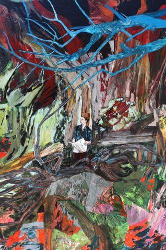 Hernan Bas (American: 1978) - 'Where?', 2011, Acrylic, block print, and airbrush on linen, 6 x 5 feet