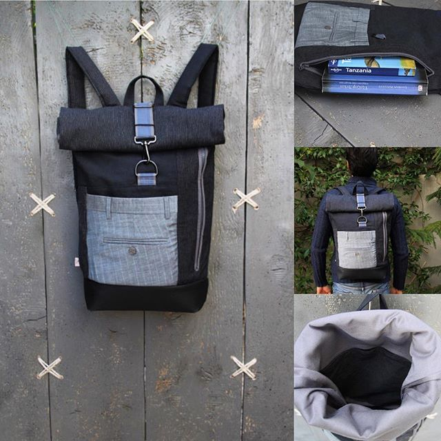 "2ways to access your things - roll top upcycled rucksack with an extra zipper on the front for easy access - by ""Eating the Goober"""
