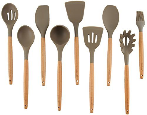 Unilove Silicone Cooking Utensil Set 9 Piece Home Kitchen Utensils Wood Cooking Utensils set for Nonstick Cookware. For product & price info go to:  https://all4hiking.com/products/unilove-silicone-cooking-utensil-set-9-piece-home-kitchen-utensils-wood-cooking-utensils-set-for-nonstick-cookware/