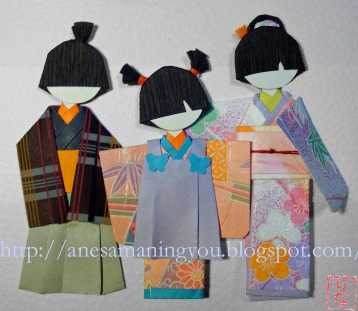 Muñecas japonesas de papel: Muñecos para Shichi Go San 七五三