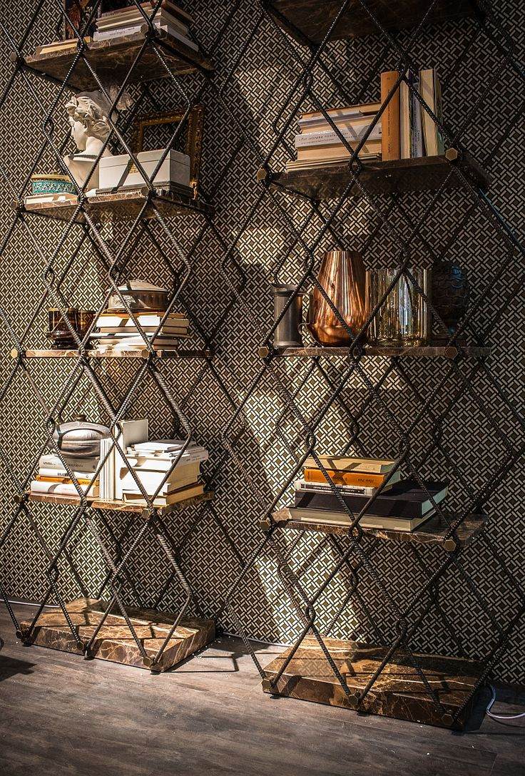Exclusive bookshelf with a metal frame and wooden shelves - @decoist