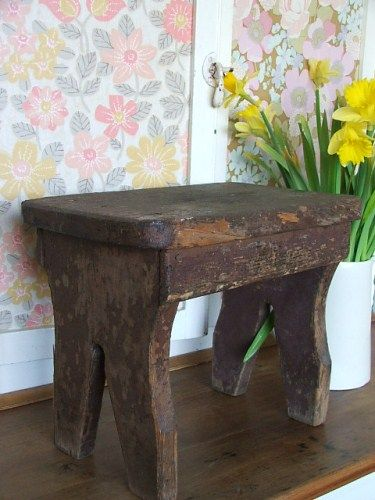 Old Shabby Vintage Wooden Stool Wooden Stools Stool