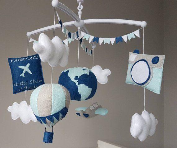 Gender neutral mobile Travel baby gift Travel nursery mobile Crib mobile Vintage airplane mobile baby Pilot baby mobile