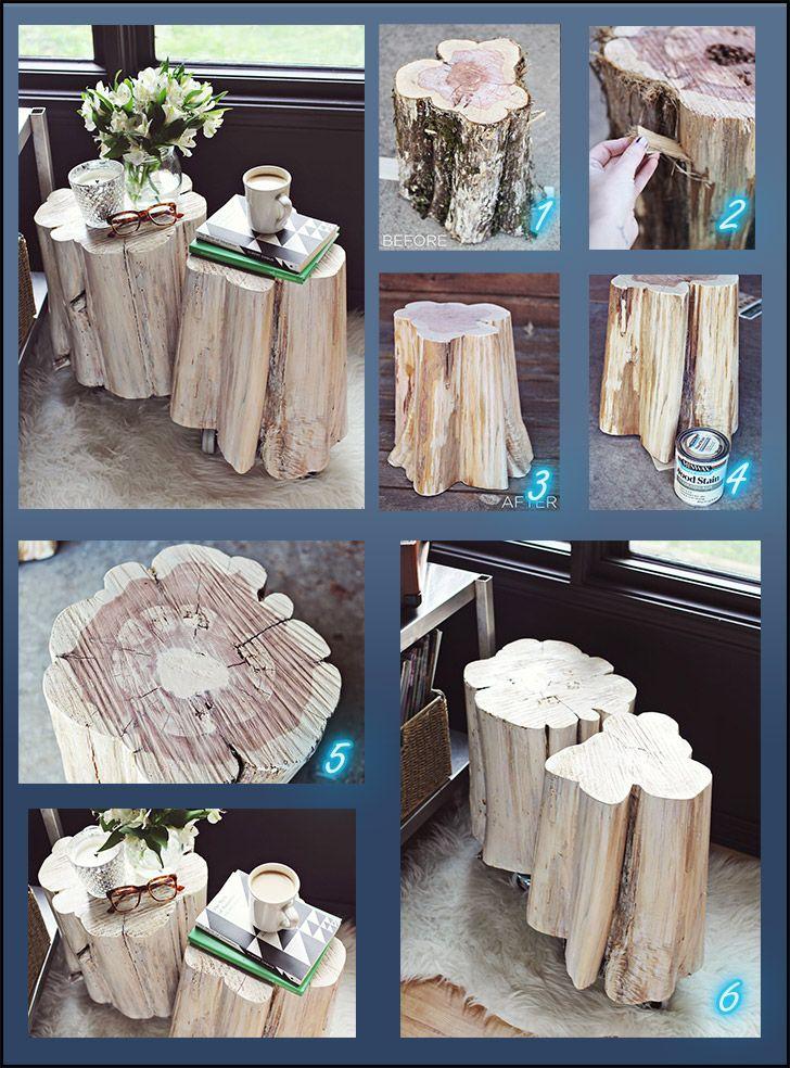 Mesinhas de canto usando troncos de madeira. Podem ser usadas para telefone, cabeceira ou sala. Passo a passo completo (inglês) e fotos estão em A Beautiful Mess Selecionados pra vocêMinibar ...Read more