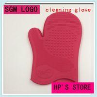 100% de alto grado de Material de doble cara Spa cepillo de limpieza guante para Effecience de limpieza pinceles de maquillaje maquillaje
