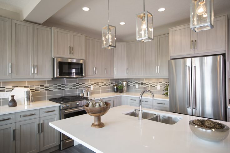 The Berkley Kitchen In Nolan Hill – Trico Homes – Check out the new homes built by www.tricohomes.com #homebuilder #tricohomes #calgary