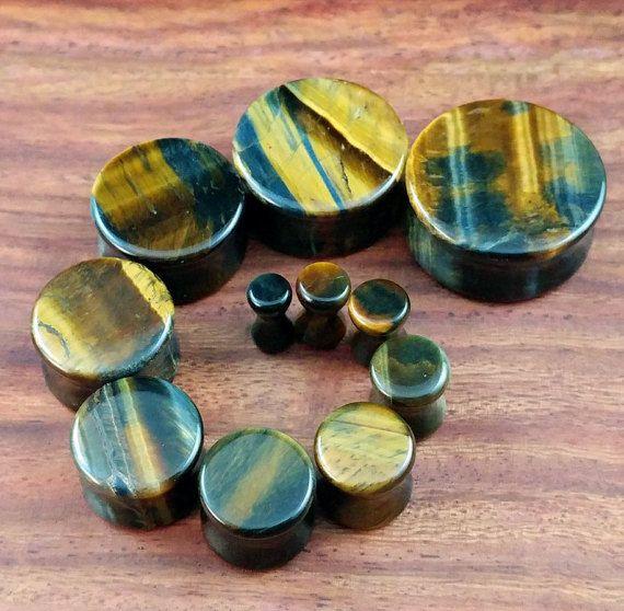 Paar van Blue Tiger Eye steen stekkers / meters voor