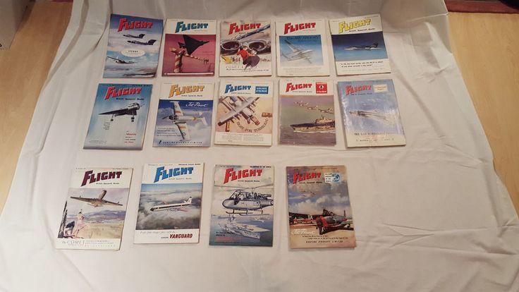 Vintage 1959-1960 Assorted FLIGHT Aircraft Aviation Airplane Magazines Lot of 14 #Flight