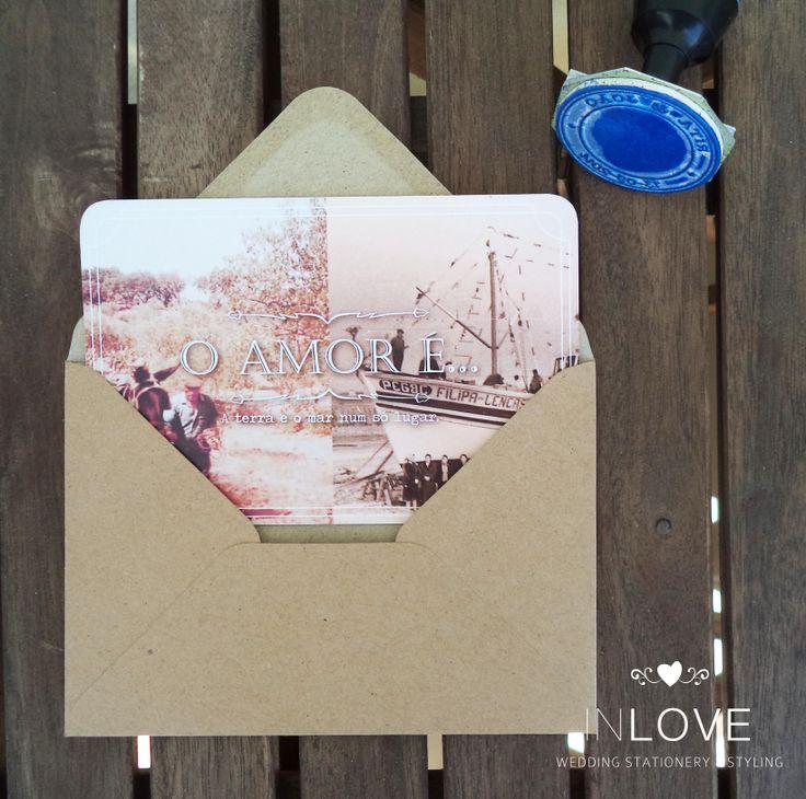 """{ R & J """"O Amor é"""" Invitations } monofolha 10 x 15cm canteada /// envelope impresso + carimbo personalizado + cordel"""