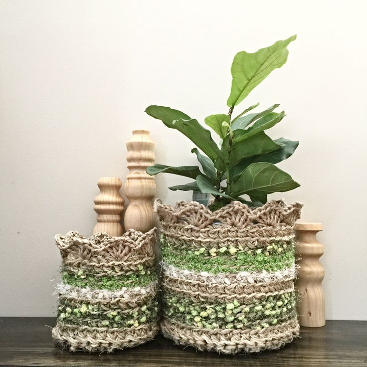 Jute, Sisal, Cotton and Yarn Basket by DollmaDesign on Etsy