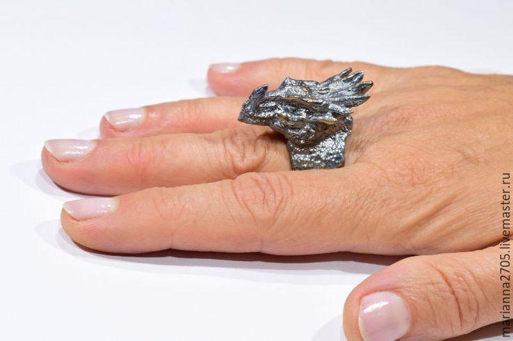 """Купить """"Черный дракон"""" кольцо с драконом в стиле ФЕНТЕЗИ - черный, серебро 925 пробы"""