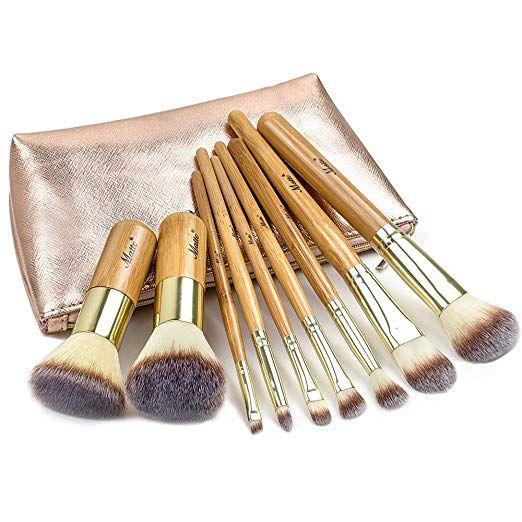 Matto Makeup Brushes 9 Piece Makeup Brush Set Foundation Brush With Travel Makeup Bag Travel Makeup Brushes Bamboo Makeup Brushes Bamboo Makeup