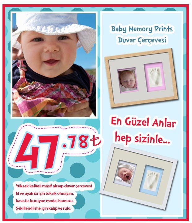 http://www.ilkebebe.com/Bebek-Hatira-Izleri/Bebek-Hatira-Izleri.aspx  en güzel anılar hep sizinle kalsın :) Ürün Açıklaması : Baby Memory Prints Duvar Çerçevesi Yüksek kaliteli masif ahşap duvar çerçevesi El ve ayak izi için toksik olmayan, hava ile kuruyan model hamuru. Şekillendirme için kalıp ve rulo. Ağırlık: 1.02 Kg. Boyutlar: 39 x 4.1 x 29.5 cm. Baby Memory Prints Duvar Çerçevesi de. Zemin renkleri mavi ve pembe