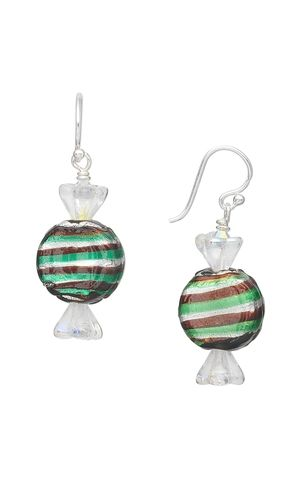 Candy Earrings with Silver Foil Glass Beads and Czech Pressed Glass Beads by Jamie Smedley.#glassbeads #earrings