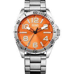 Hugo Boss Orange Dial Stainless Steel Mens Watch 1512942