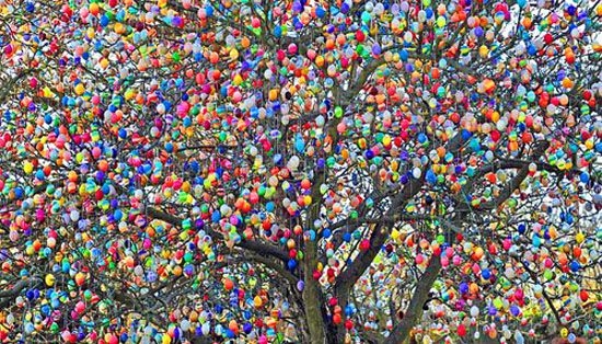 Decking trees with hollowed-out, painted eggs for Easter is popular in Germany, but the 75-year-old Volker Kraft's creation has becom...