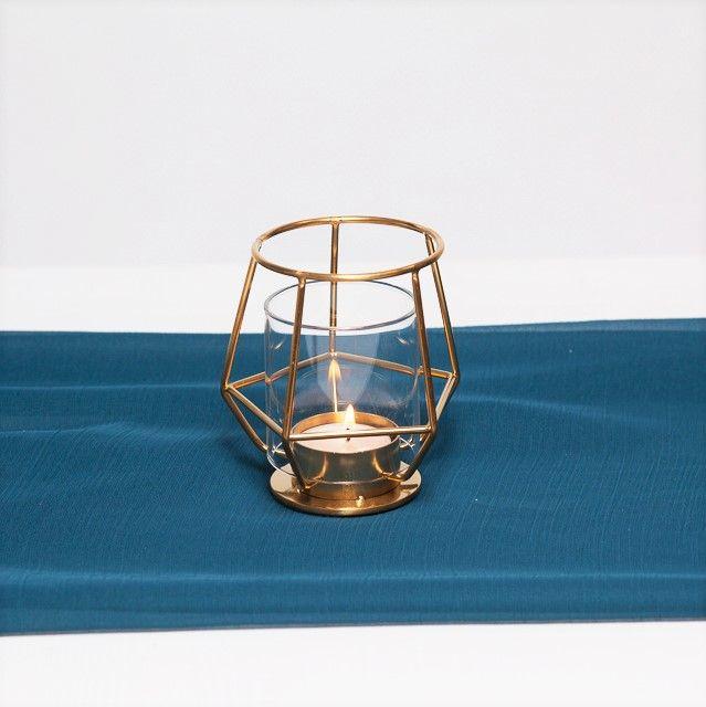 suport lumanare din sticla cu rame aurii, pentru lumanare pastila