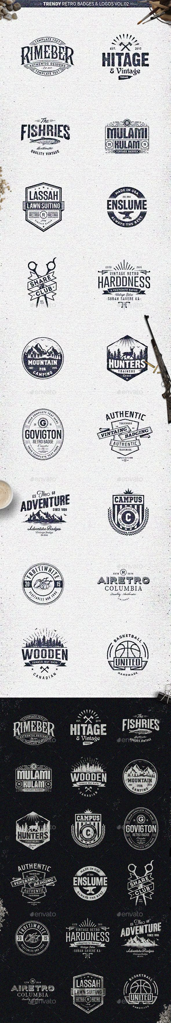 18 Trendy Retro Badges and Logos Vol.02 – Badges & Stickers Web Elements