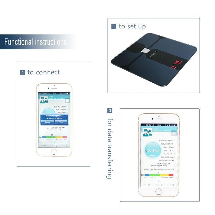 Kicode Báscula Digital de Análisis Corporal Bluetooth Compatible con Android e iOS Mide el Peso Grasa Corporal Porcentaje de Agua Músculo Hueso y Caloría: Amazon.es: Salud y cuidado personal