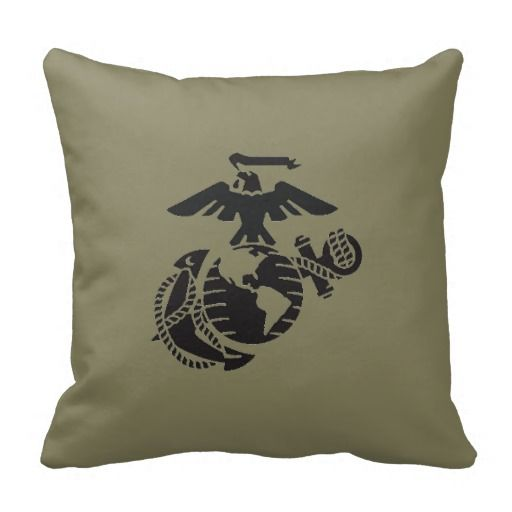 Marine Green EGA olive green Pillow, would look good on a black bedspread. Good way to decorate a USMC bedroom.