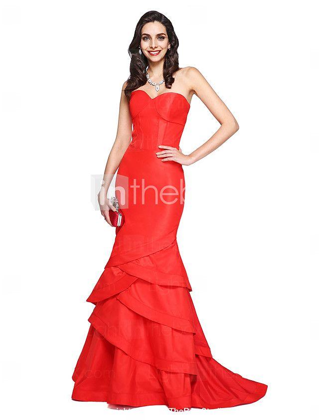 TS Couture® Evento Formal Vestido Sereia Coração Cauda Corte Tafetá com Babados em Cascata de 2016 por R$373.46