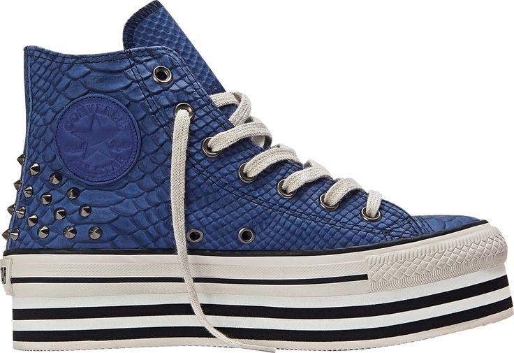 Blue Studded Snakeskin Platform Converse