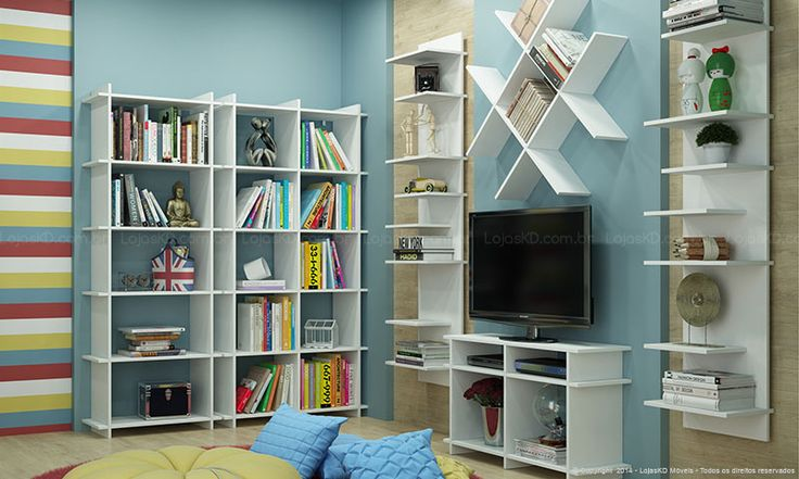 Sala de Estar Completa Encaixe Branco - BRV Móveis