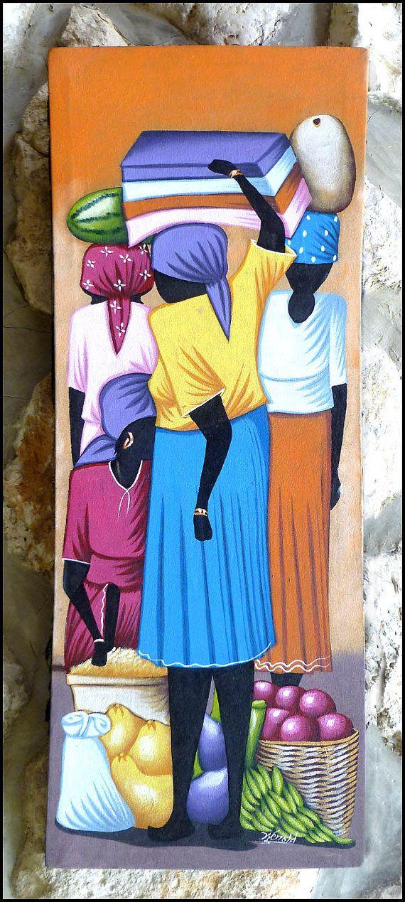 Haitian Market Scene  Original Primative Art by TropicAccents, $39.95    Haitian art,  Canvas Painting, Haiti