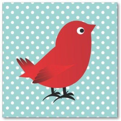 Teal & red birdie