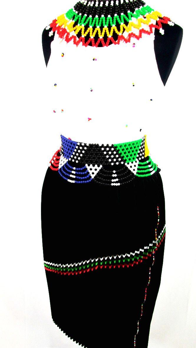 South African Women's Zulu Attire in Black