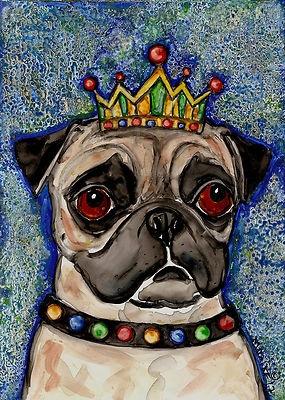 """King Pugly"" art on Ebay  by Melinda Dalke http://cgi.ebay.com/ws/eBayISAPI.dll?ViewItem=180895815399: Art Studios,  Pug-Dog, Art Inspiration, Artists Melinda, King Pugs, Pugs Dogs, Animal Artistry, Melinda Dalk, Pugs Art"