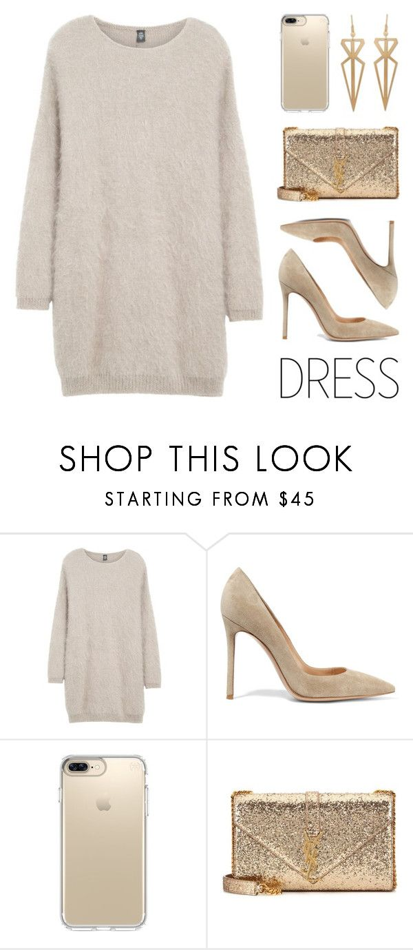 """""""Party On: Long Sleeve Dress"""" by lgb321 on Polyvore featuring Eleventy, Gianvito Rossi, Speck, Yves Saint Laurent and longsleeve"""