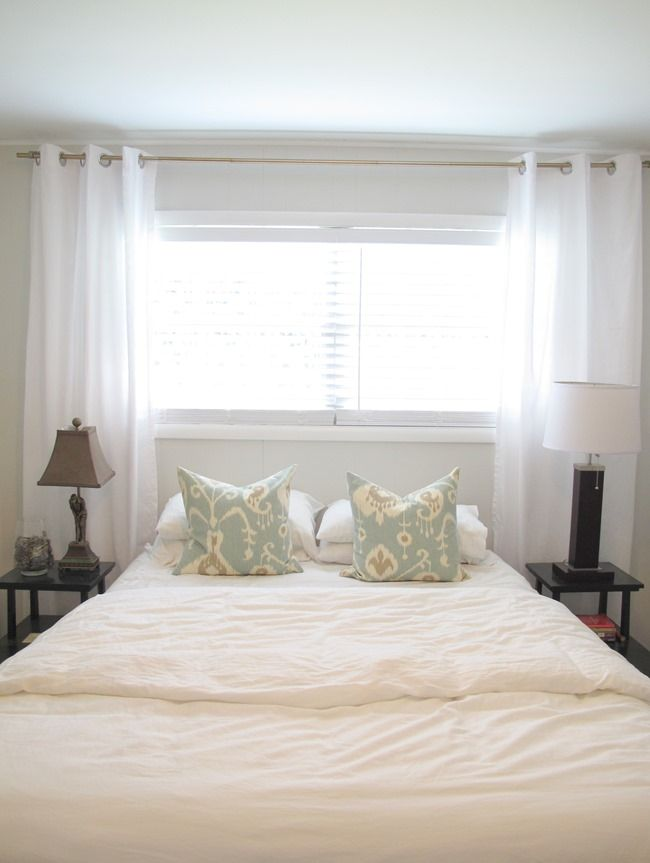 DIY Curtain Rod, White Curtain Panels, Sherwin Williams First Star Gray Wall