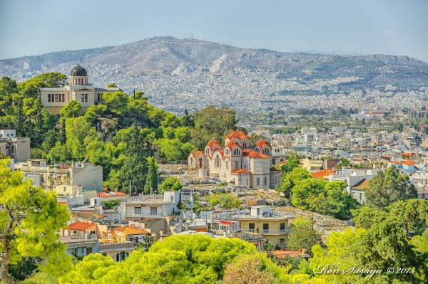 Athens Thission, view over the Church of Agia Marina and the National Observatory