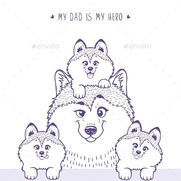 Family Husky Silhouette - Animals Characters