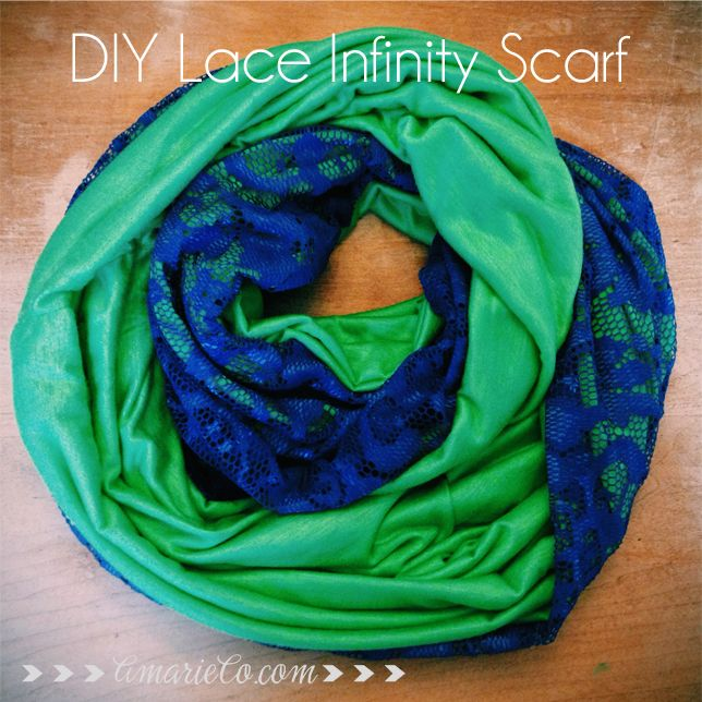 DIY lace infinity scarf - Seattle Seahawks colors - easy beginner sewing project!
