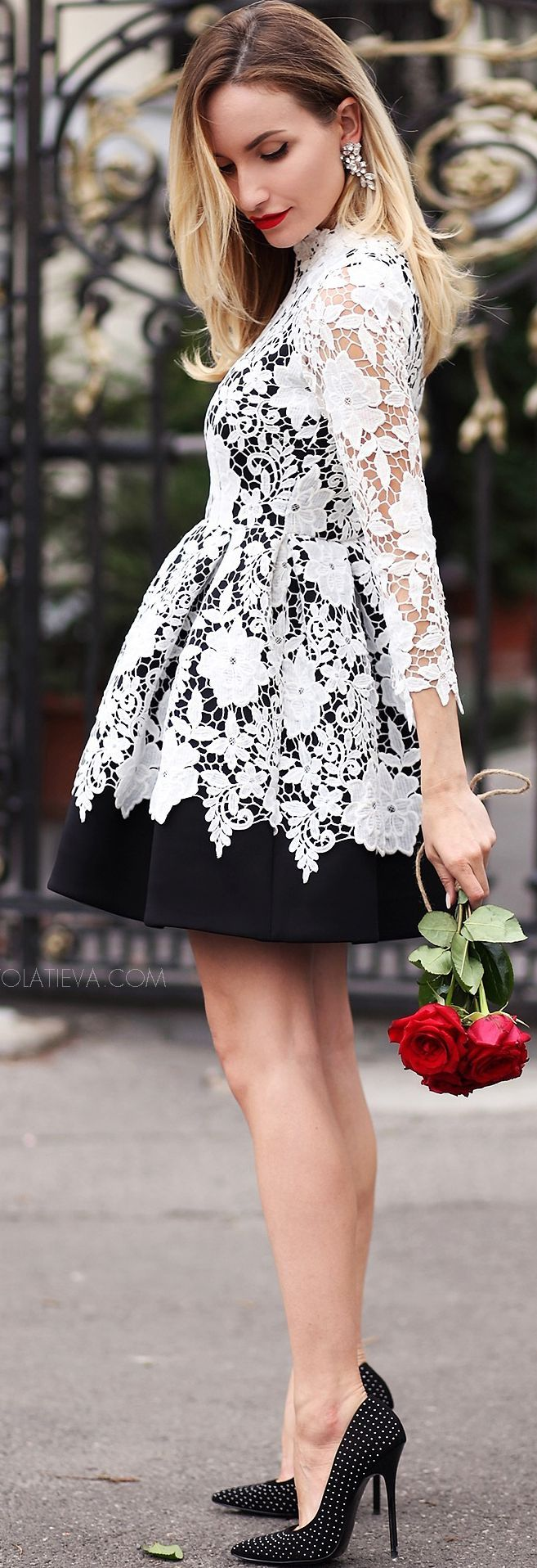 Postolatieva Black And White Romantic Skater Dress Fall Inspo