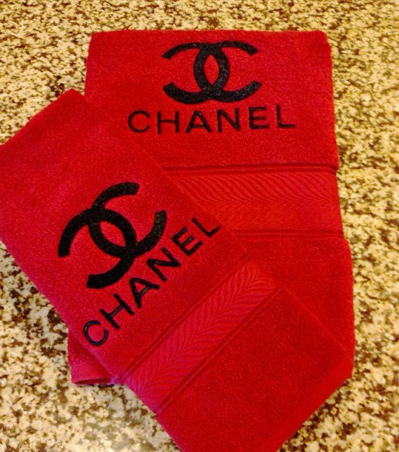 Chanel Designer Inspired Black Metallic Thread Onto A Fire Red Extra Large Very Thick / Plush Bath Towel And Hand Towel SET on Etsy, $36.50
