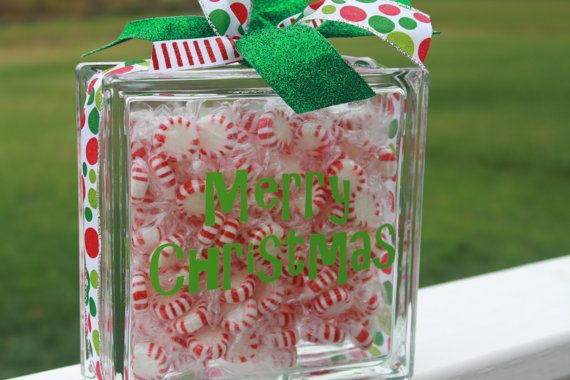 Items similar to Merry Christmas decorative candy glass block on Etsy