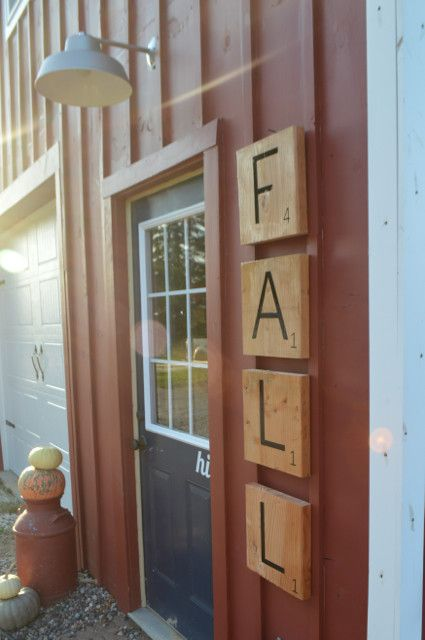 Awesome scrap wood project - these DIY scrabble tiles are perfect for outdoor decor. A great idea for any holiday and theme! Click for details.